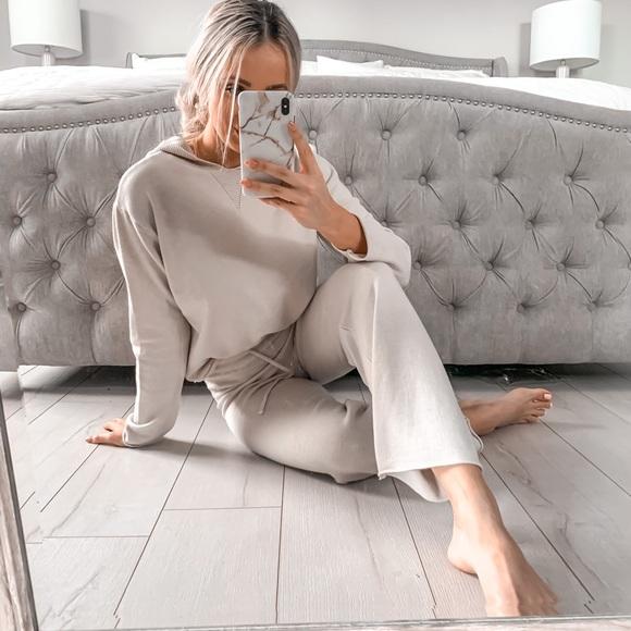 Two Piece Beige Loungewear Ultra Soft Knitted Set